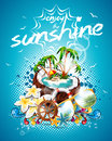 Vector Summer Holiday Flyer Design with coconut and Paradise Island. Royalty Free Stock Photo