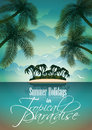 Vector summer holiday flyer design with palm trees and paradise island on clouds background eps illustration Royalty Free Stock Images