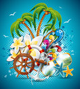 Vector summer holiday flyer design with palm trees and shipping elements Stock Photos