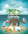 Vector summer holiday flyer design with palm trees and shipping elements on tropical background Royalty Free Stock Image