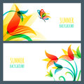 Vector summer horizontal banners and backgrounds. Colorful summer lily flowers and butterfly.