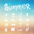 Vector summer icon set on a blurred background beach illustration Stock Photography