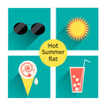 Vector summer icons. Flat design trend. Retro.