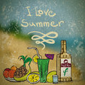 Vector summer illustration with still life of fruit tequila cocktails Royalty Free Stock Photo