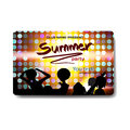 Vector summer party flyer disco style. Night beach, dj, women