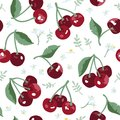 Vector summer pattern with sweet cherries, flowers and leaves. Seamless texture design.