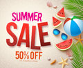 Vector summer sale banner design with red sale text and colorful elements Royalty Free Stock Photo