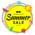 Vector summer sale template banner with scribble circle and flat sun, watermelon, ice cream, strawberry design elements.