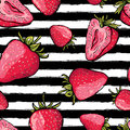 Vector summer seamless pattern. Red strawberries on black and white Royalty Free Stock Photo