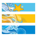 Vector summer set with horizontal banner in dotwork style. Abstract dotted waves, seashell, starfish, pebble, swirls isolated. Royalty Free Stock Photo