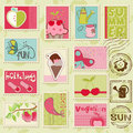 Vector summer stamps Stock Photos