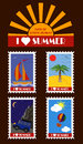 Vector summer stamps pack of postage including illustrations of yacht ocean palm desert car mountains air balloon and sky Royalty Free Stock Photo