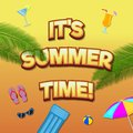 Vector summer time banner template. It`s summer time text lettering in cartoon style with different accessories.