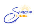 Vector summer time lettering text for advertising, travel posters, seasons sales. Isolated on white.