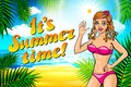 Vector summer time lettering and Woman on of the Sea Beach and Takes Sunbath. Bikini gir. pinup vintage poster
