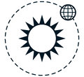 Vector sun earth orbit simple vector illustration Royalty Free Stock Photo