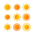 Vector sun flat set Royalty Free Stock Photo