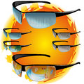 Vector sun glasses with tropical beach and city reflection Royalty Free Stock Photography