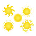 Vector sun icon isolated on white background.