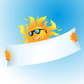 Vector sun illustration of holding banner Royalty Free Stock Photo