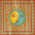 Vector sun and moon face Royalty Free Stock Photo