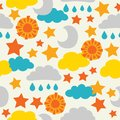 Vector, sun, moon, stars and clouds. seamless pattern background