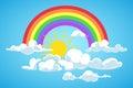 Vector sun, rainbow and clouds blue sky