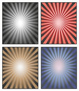 Vector. Sunburst Illustration. A background of sun rays or star rays for an advertisement or a poster. Sunshine rays in red, blue, Royalty Free Stock Photo