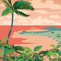 Vector Sunset Tropic Beach with Palm trees Royalty Free Stock Photo