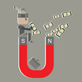 Vector super salary man attract money for money id idea on gray background Royalty Free Stock Image
