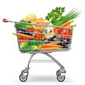 Vector Supermarket Trolley with Vegetables Royalty Free Stock Photo