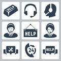Vector support call center icons set Stock Image