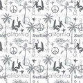 Vector Surfing California Gray Seamless Pattern Surface Design With Surfing Women, Palm Trees, Peace Signs, Surf Boards. Royalty Free Stock Photo