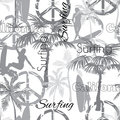 Vector Surfing California Grayscale Seamless Pattern Surface Design With Sporty Girls, Palm Trees, Peace Signs, Surf Royalty Free Stock Photo