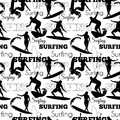Vector Surfing People California Black And White Seamless Pattern Surface Design With Men, Women On Surf Boards. Royalty Free Stock Photo