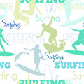 Vector Surfing People California Blue Green Seamless Pattern Surface Design With Men, Women On Surf Boards. Royalty Free Stock Photo