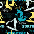 Vector Surfing People California Blue Yellow Black Seamless Pattern Surface Design With Men, Women On Surf Boards. Royalty Free Stock Photo