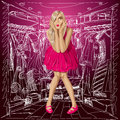 Vector surprised blonde in pink dress fashion concept do not know what to wear all layers well organised and easy to edit Royalty Free Stock Photography