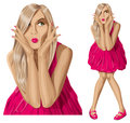 Vector surprised blonde in pink dress sale concept all layers well organised and easy to edit Royalty Free Stock Photo