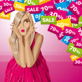 Vector surprised blonde in pink dress sale concept do not know what to buy all layers well organized and easy to edit Royalty Free Stock Photography