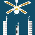 Vector surrealistic background,huge vintage ceiling fan over the city