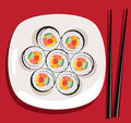 Vector sushi and chopsticks Royalty Free Stock Image