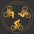 Vector symbol of a bicycle. Modern cyclists silhouettes. Royalty Free Stock Photo