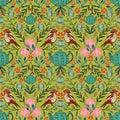 Vector symmetrical floral seamless pattern with folk art motifs