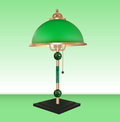 Vector table lamp bronze glass green shade Stock Image