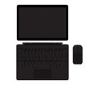 Vector tablet pc with keyboard and mouse manipulator. Touch screen laptop. Laptop with tablet mode. Isolated on white.