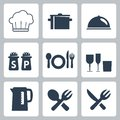 Vector tableware icons set Royalty Free Stock Image