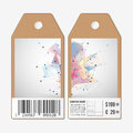 Vector tags design on both sides, cardboard sale labels with barcode. Abstract background. Technical construction