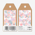 Vector tags design on both sides, cardboard sale labels with barcode. Hand drawn floral doodle pattern, abstract vector Royalty Free Stock Photo