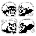 Vector tatoo style black skulls with stars in eyes Royalty Free Stock Photo